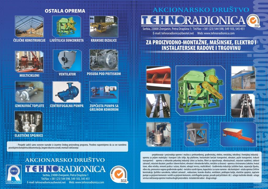 Tehnoradionica Proizvodni program katalog prednja i zadnja strana